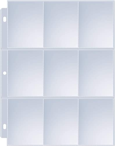 36 Pack 9 Pocket Page Protector, Sooez Trading Card Sleeves Pages Baseball Pages for 3 Ring Binder, Card Sheets for S...