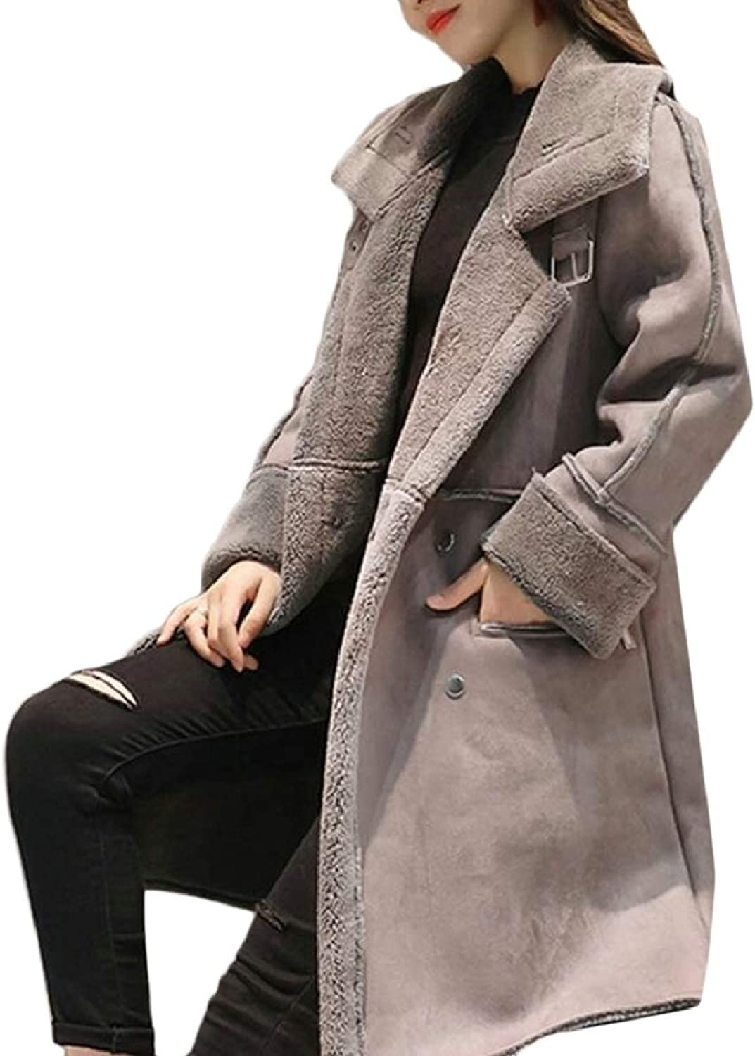 Women's Winter Warm Faux Suede Lapel Slim Fit Mid Long Length Jackets