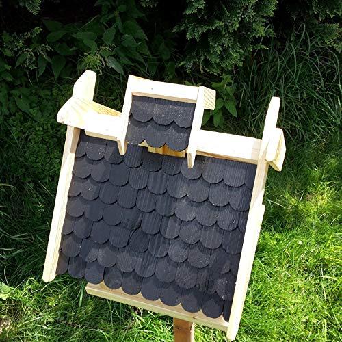 Vogelhaus Schreinerarbeit Futterhaus Vogelhäuschen –Wetterschutz– K Block Schwarz Holz Vogelhäuser - 3