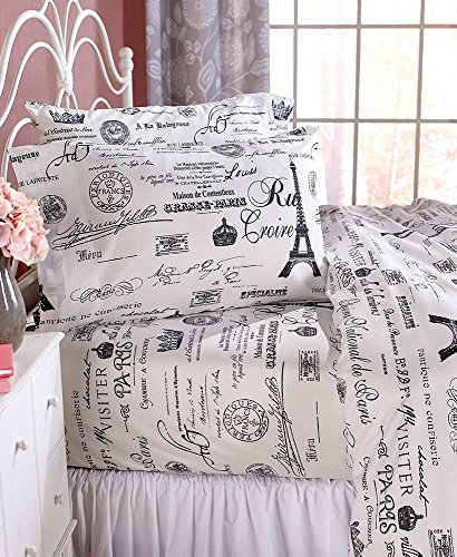 The Lakeside Collection Paris Bed Sheets Set - Polyester Printed Decorative Sheets - Twin