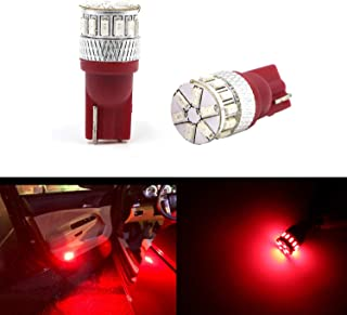 T10 500 Lumens Super Bright Dome Light Bulbs Read Door Map Light Pure Red 194 168 2825 175 W5W 158 161 192 LED Bulb 3014 18-SMD LED Car Cargo Lights Bulbs Lamps Replacement