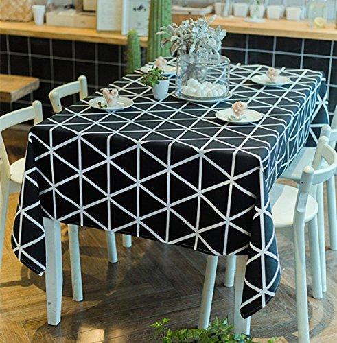 GAOJIAN Nappe à carreaux géométrique en noir et blanc moderne Toile de coton en coton américain , 140*180cm , a