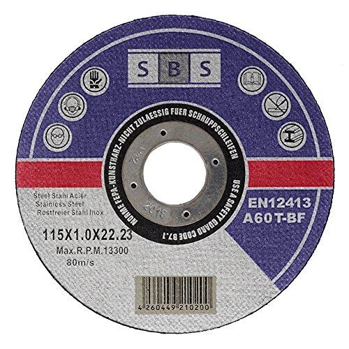 SBS 100 dischi da taglio in inox, 115 x 1,0 mm, per flessibile o smerigliatrice angolare