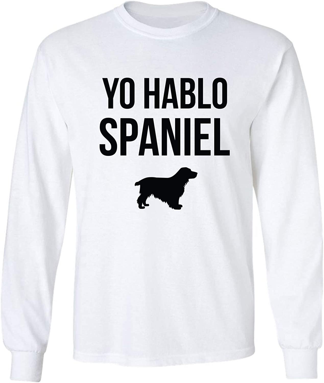 Yo Hablo Spaniel Adult Long Sleeve T-Shirt in White - XXX-Large