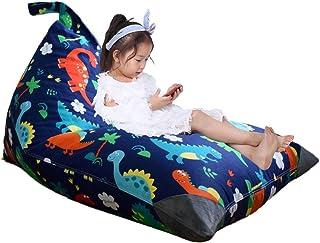 Stuffed Animal Storage Bean Bag Chair for Kids and Adults, Dinosaur Bean Bag Chair Cover, Premium Canvas Stuffie Seat - Co...