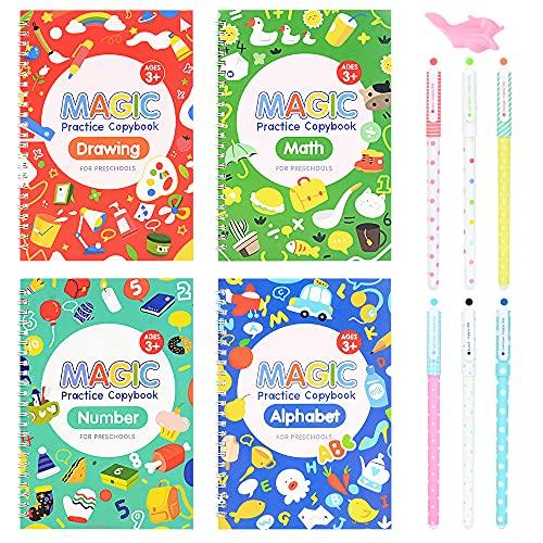Caligrafía Mágica, MMTX Cuaderno de Escritura a Mano 4 Cuadernos Juego de 3D Groove Cuaderno de Escritura a Mano para Niños con 6 Bolígrafos y 1 Portalápices