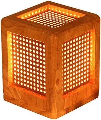 ソリッドウッドキューブテーブルランプ、100ホールベッドルームベッドサイドランプ、ラバーウッドクリエイティブデスクライト、木製カラースモールナイトスタンドライト、リビングルーム研究装飾用シンプルなモダンなLEDテーブルライト