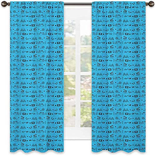 Blue and Black Wear Resistant Color Curtain, Doodle Style Cinema Movie Theater Icons Camera Seat Popcorn Clapper, Waterproof Fabric, W42 x L45 Inch Pale Blue and Black