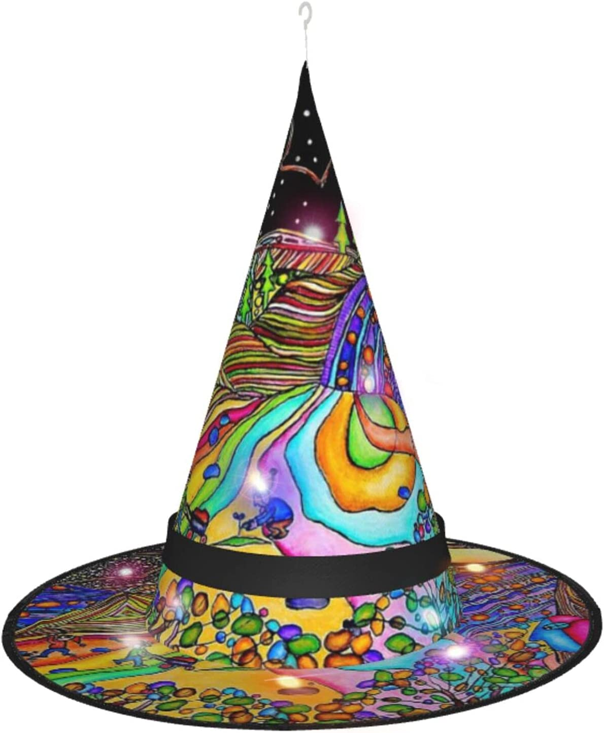 Magical Psychedelic Trippy Art 4 years warranty Ranking TOP18 Halloween Hat Witch Party Decorat