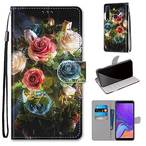 Miagon Flip PU Leder Schutzhülle für Samsung Galaxy A9 2018,Bunt Muster Hülle Brieftasche Case Cover Ständer mit Kartenfächer Trageschlaufe,Blühen Blume