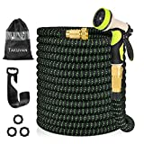 Takuvan 100ft Expandable Garden Hose, Durable Flexible Expanding Water Hose, Leakproof Lightweight Hose with 9 Function Spray Nozzle, Extra Strength Fabric Hose Pipe with 3/4' Solid Brass Connector