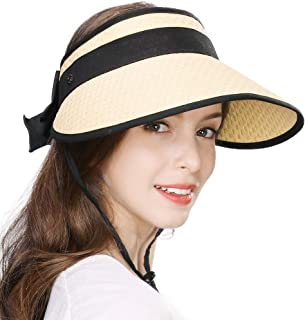 Jeff & Aimy Womens Rollup Straw Visor Sun Hat w/Face Mask/Neck Flap UPF 50+