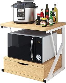 Vobajf Étagère Micro-Ondes 2 Niveau de Rangement en Bois Four à Micro-Stand Rack avec tiroir et Spice Rack Organisateur Ét...