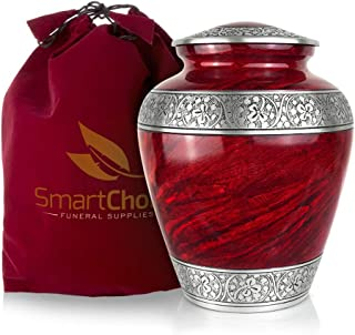 Cremation Urn for Human Ashes (Adult) - Memorial Funeral Vase with Secure Lid - Red Handcrafted Large Urn by SmartChoice