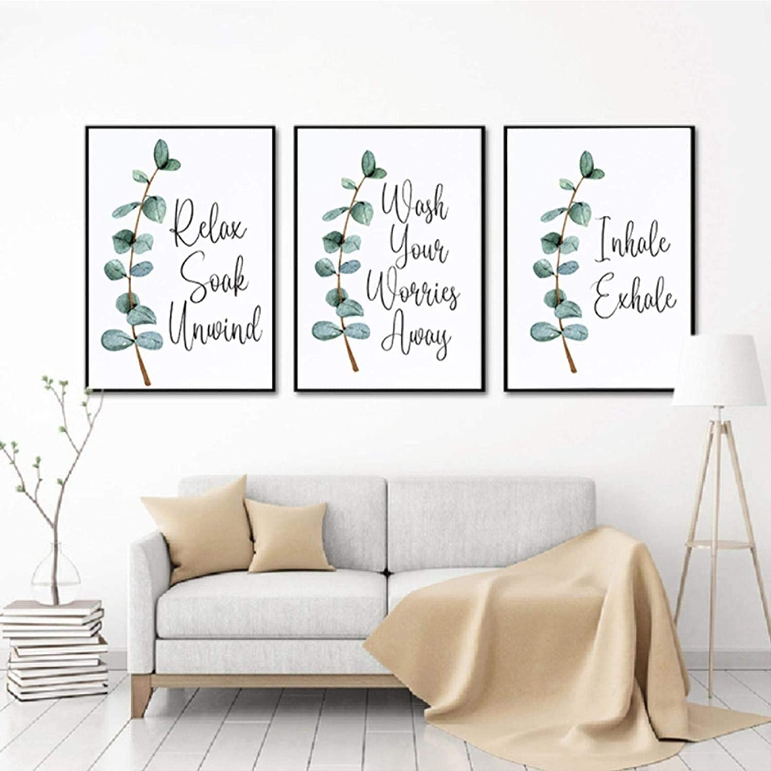 12x18 inch,Unframed Inhale Exhale Canvas and Prints Toilet Quote Modular Botanical Wall Art for Canvas Painting 3Psc//Set