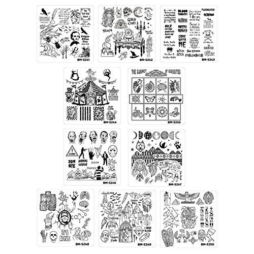 Bundle Monster 10er Set Halloween Stamping Schablone House of Horrors BM-S241 - BM-S250