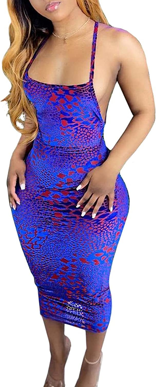 Remelon Womens Sexy Sleeveless Spaghetti Strap Geometric Print Hollow Backless Bodycon Pencil Club Midi Long Dress