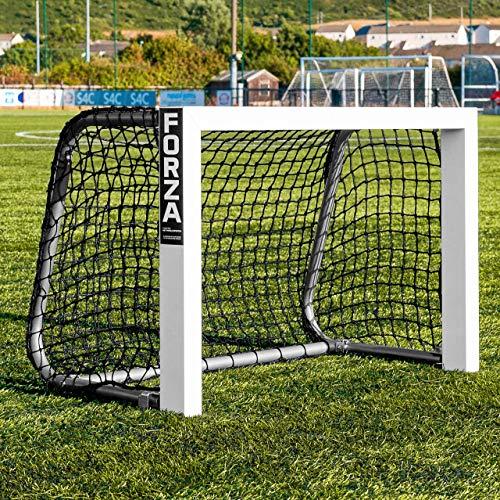 FORZA Alu Mini Ziel Fußballtor │ tragbar und zusammenfaltendes Design │ blau und schwarz Netz Optionen erhältlich (Schwarzes Netz)