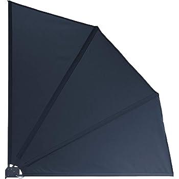 QUICK STAR Sichtschutz Fächer 115 x 115 cm Stoff Balkon Trennwand Windschutz Sonnenschutz Grau