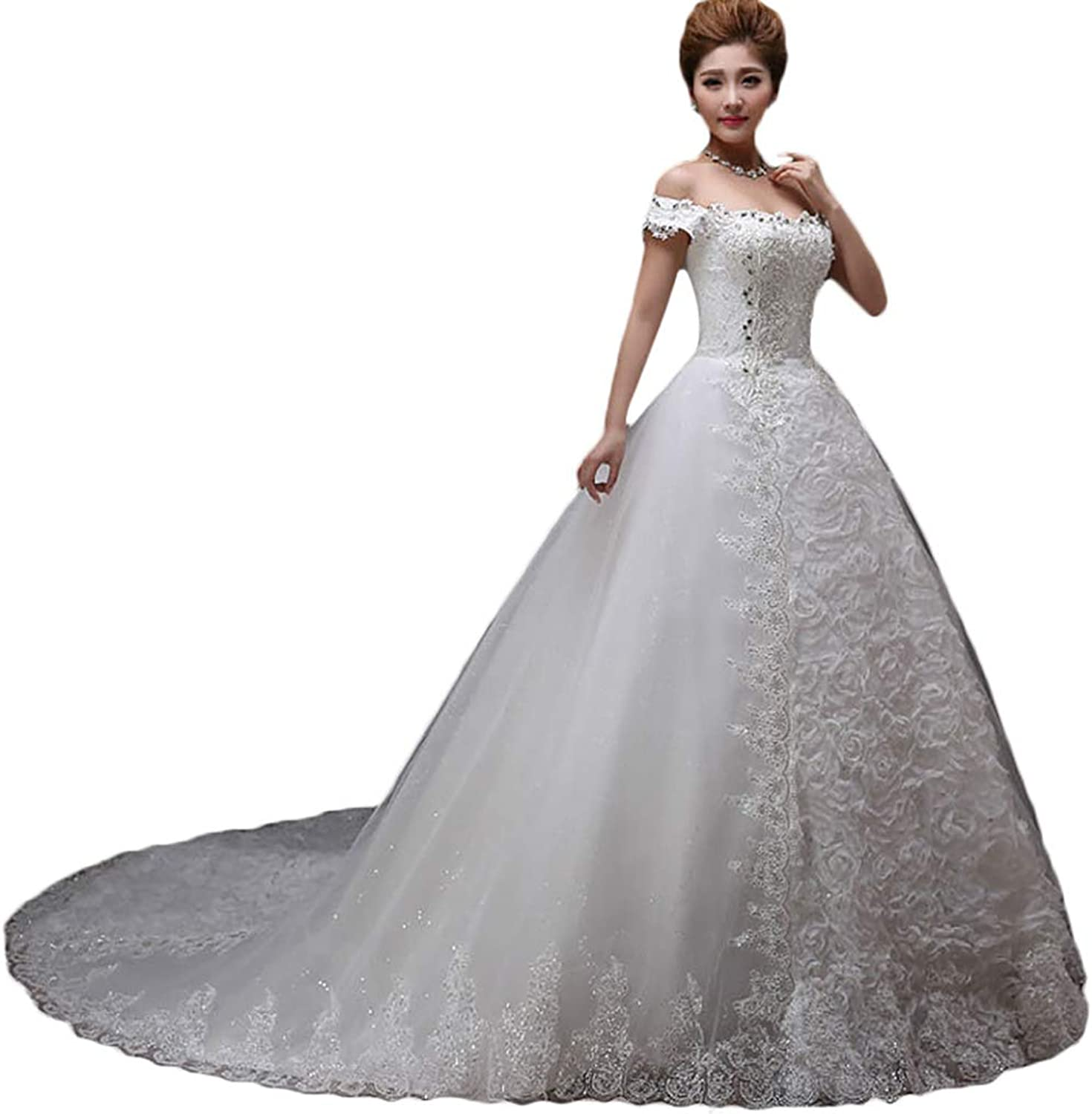 Baixia Vintage Retro Wedding Dresses Off Shoulder Applique Lace Ball Gown Bridal Dress