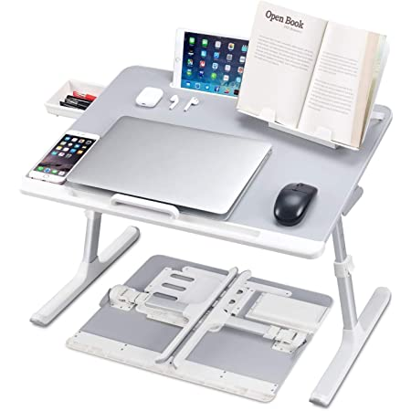 Lyrovo PVC Leather Foldable Adjustable Laptop Table Desk Stand with Storage Drawer and Bookstand for Eating Working Writing Gaming Drawing (6 Month Warranty)