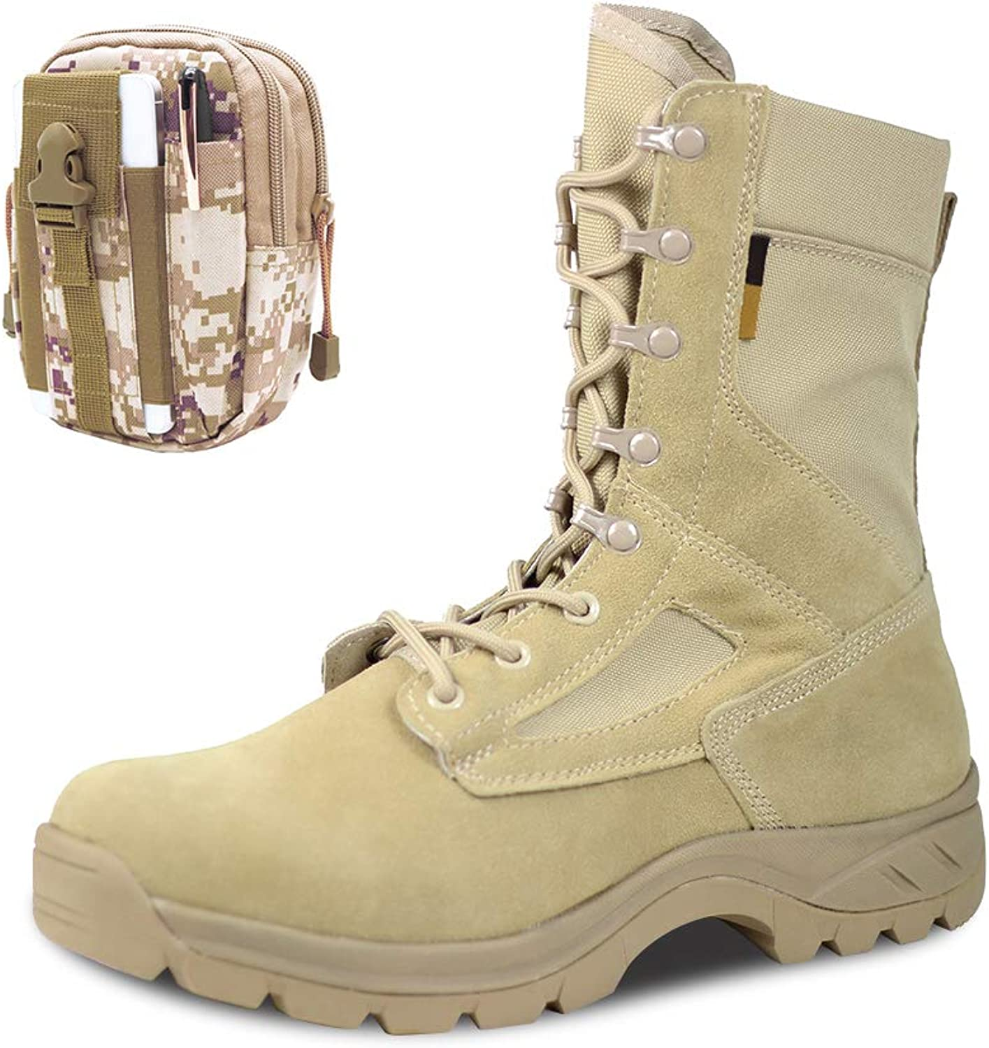 PANY Military Boots Brathable Jungle Boots Men Desert Tactical Boots Lace Up Boots with Military Waist Bag