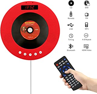 YOOHOO Portable CD/DVD Player with Bluetooth,Wall Mountable CD DVD Player HDMI Built-in HiFi Speakers with Remote for TV,Music Player Support FM Radio USB SD Card AV Jack (Red)