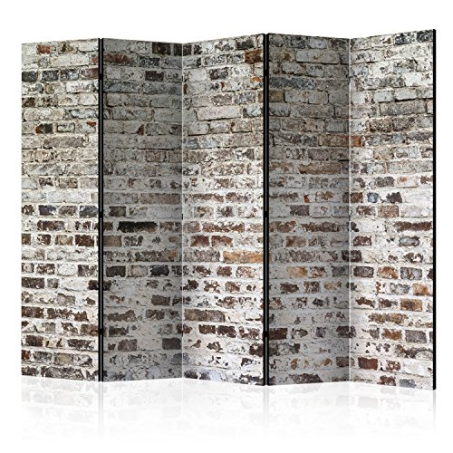 murando Biombo Ladrillo 225x172 cm de Impresion Unilateral en el Lienzo de TNT de Calidad Decoracion Foto Biombo de Madera con Imagen Impresa Separador Grande Home Office Gris f-A-0411-z-c