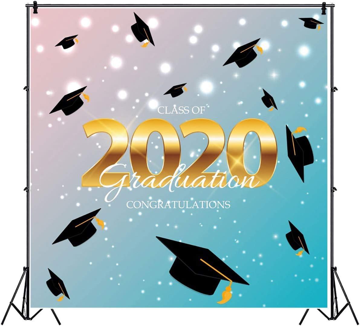 6x4FT Golden Class of 2020 Backdrop Falling Bachelor Cap Sparkling Baby Blue Photography Background Congratulations Graduation Party Banner Vinyl Photo Studio Props