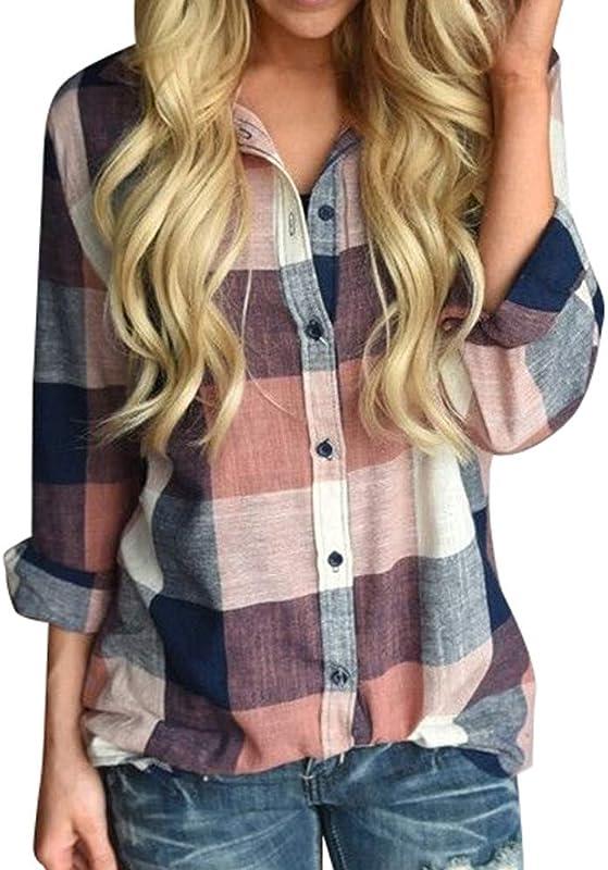 Boomboom Winter Women Plus Size Long Sleeve Button Loose Plaid Shirt Teens Girls Blouse Size S 5XL