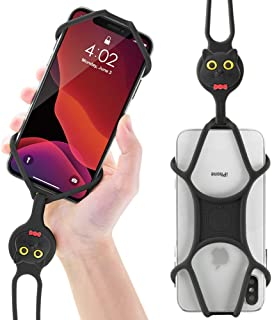 Universal Cell Phone Lanyard Holder, Silicone Neck Strap Smartphone Case for iPhone Xs Max XR X 8 7 6S Plus Samsung Galaxy S10 S9 S8 Note 9 Pixel 3 XL, Phone Tie Series (Miao Cat)