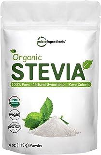 Pure Organic Stevia Powder, 4 Ounces, 706 Serving, 0 Calorie, Natural Sweetener, Sugar Alternative, Premium Stevia for Ket...