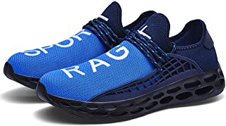 Men's New Mesh Breathable Lightweight Gym Sport Shoes Knit Soft Soled Sneakers Strap Athletic Running Shoes