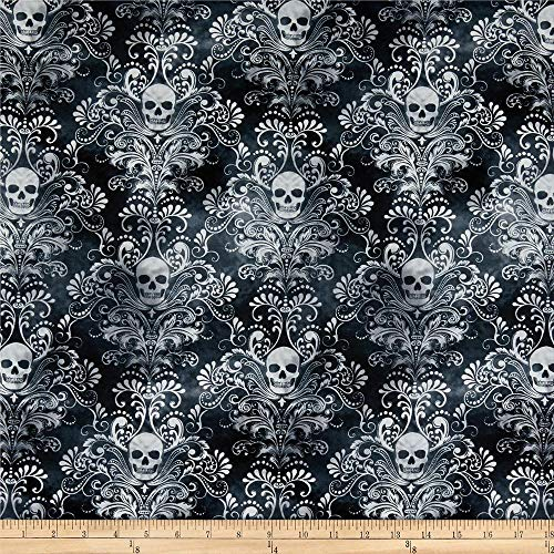 Timeless Treasures Skulls Damask Charcoal Quilt Fabric By The Yard, Charcoal