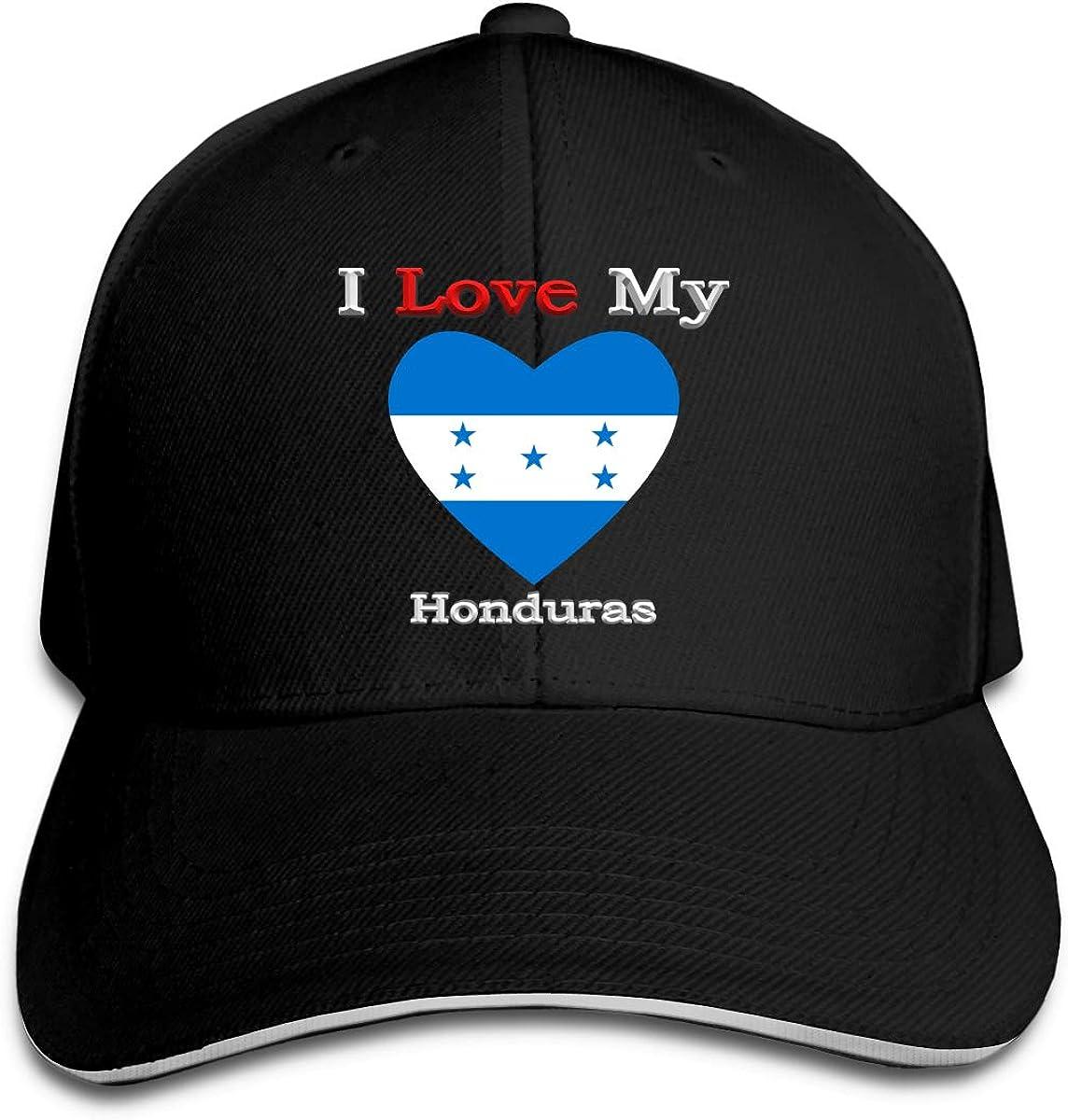 I Love My Flag of Honduras Heart Hat Baseball Cap Duck Tongue Cap Sunhat Fashion Cap