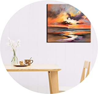 Artist Design New Abstract Landscape Sunset Landscape Oil Painting On Canvas Living Room Wall Sunrise Painting On Canvas,30x30