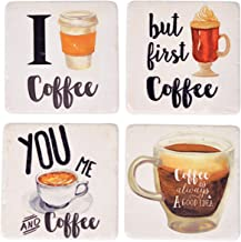 NIKKY HOME 4 Funny Beverage Absorbent Coasters for Drinks, Set of 4, Coffee Style