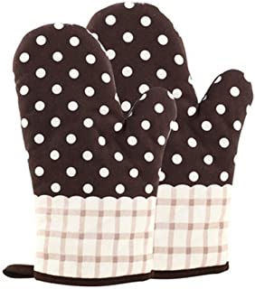 KinChi Glove Microwave BBQ Oven Cotton Baking Pot Mitts Cooking Heat Resistant Kitchen100% Quilted Cotton with Thick Terry...