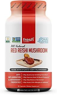 Organic Reishi Mushroom Capsules - Strongest DNA Verified Formula - Rich in Alpha Glucan - Red Reishi Mushrooms - Ganoderm...