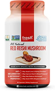 Reishi Mushroom Capsules - Strongest DNA Verified 1500mg Per Serving - Organic Red Reishi Mushrooms - DNA Verified Ganoderma Lucidum & Ganoderma Applanatim - Third Party Tested - 90 Capsules/Pills