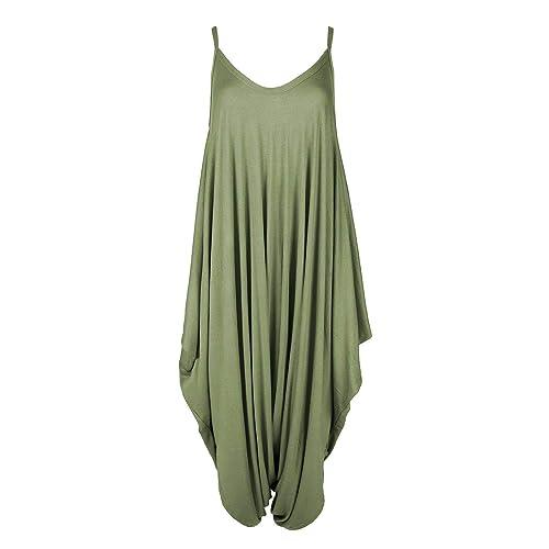 Women/'s Cami Jumpsuit Lagenlook Romper Baggy Harem Playsuit Dress KHAKI XXL