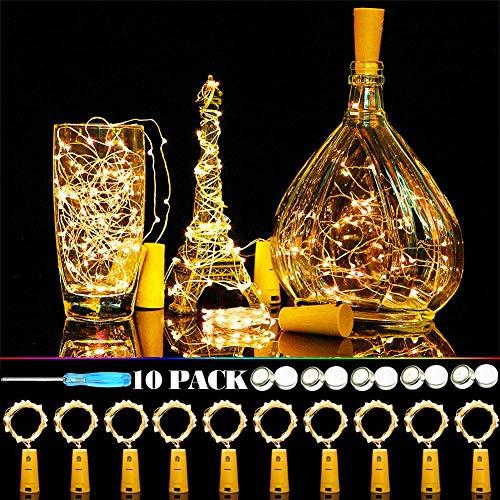 TBoonor flesverlichting, 10 stuks wijnflessen, lichtketting voor flessen, 2 meter, 20 leds, flesverlichting, warmwit, fleslicht voor DIY flessen, decoratie, kerst, feest, bruiloft