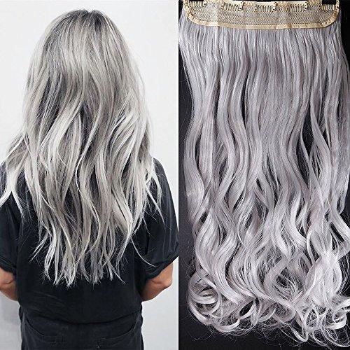 61cm Haarteil Clip in Extensions 1 Tresse 5 Clips Haarverlängerung Human Hair wie Echthaar Gewellt Silber-Grau 24