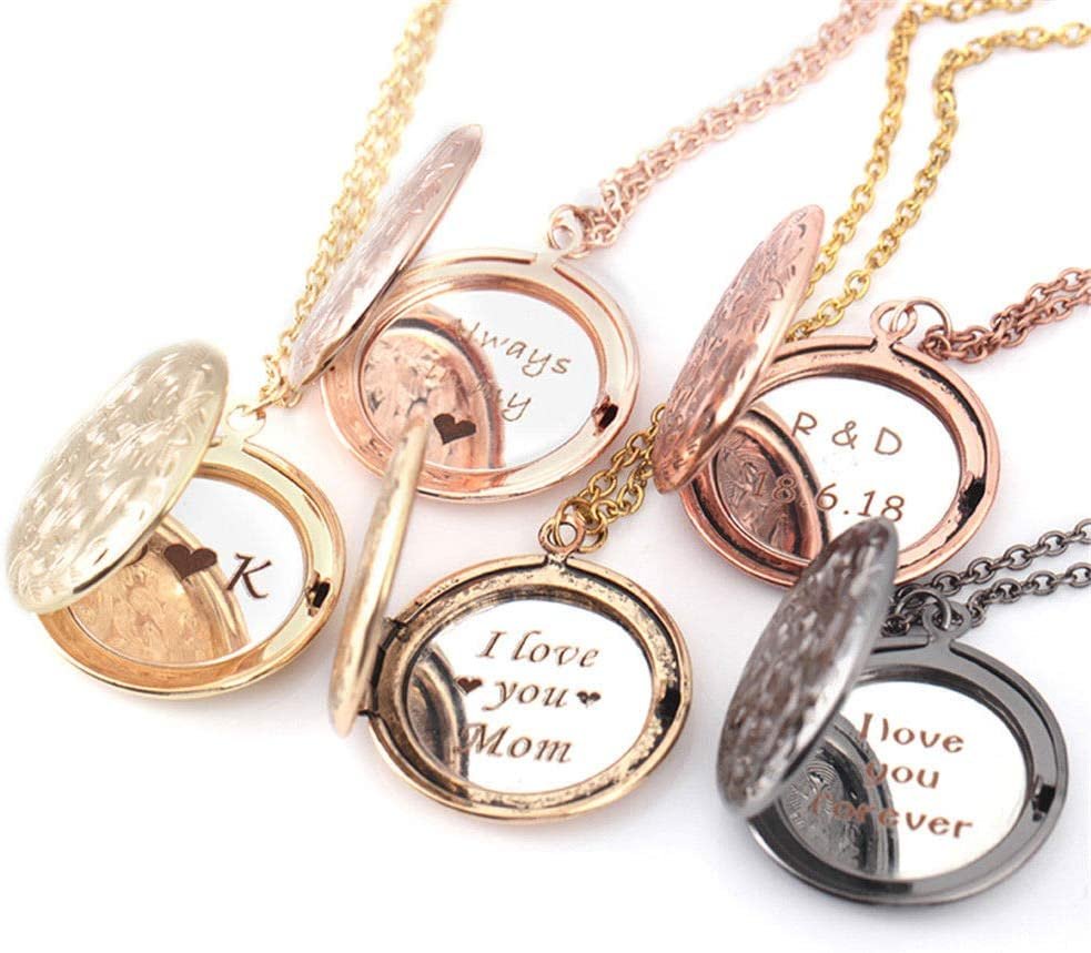 Davitu Personalised Engraved Custom Floating Round Locket Necklace Anniversary Jewelry - (Metal Color: Rose Gold)