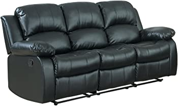 Case Andrea MilanoTM 3-Seater Bonded Leather Double Recliner Sofa