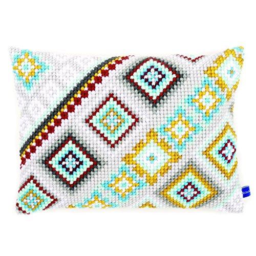 Vervaco vierkant kruissteekkussen/borduurkussen voorbedrukt, katoen, meerkleurig, 40 x 28 x 0,3 cm