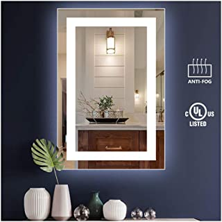 KIVA RHYME 24x36inch Bathroom Vanity Mirror, Wall-Mounted Mirror with High Lumen CRI>90 Cold White Lights and Anti-Fog Function (NO Touch Button), Perfect for Home Use or Hotel Supplies