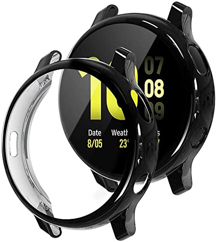 M G R J Case For Samsung Galaxy Watch Active 2 44Mm Soft TPU Cover For Samsung Galaxy Watch Active 2 44Mm Smart Watch With Full Protection Black