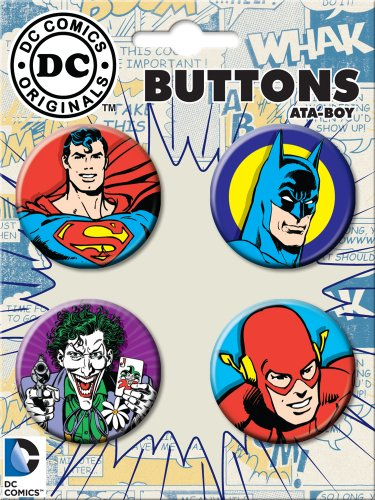 Superman Batman Joker Flash 4 Piece Set Button