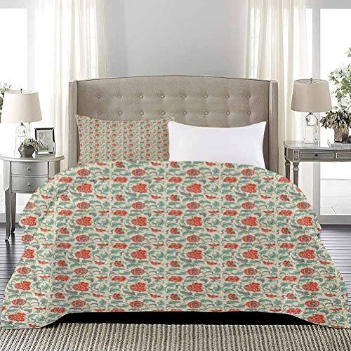 UNOSEKS LANZON - Juego de funda de edredón y funda de edredón con diseño de flores con hojas y flores, diseño clásico antiguo, cómoda ropa de cama, no siente picazón o aspereza, color beige